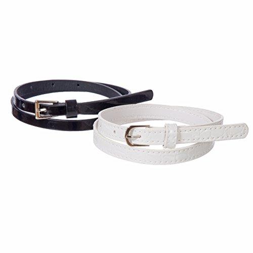 Sequin Skinny Belt - Sunny Belt Girl's 2-for-1 Shiny Black & White Skinny Belt Small