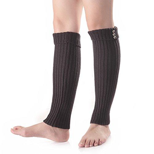 Flammi Women's Rib Knit Cuffed Leg Warmers Footless Boot Socks (Dark (Rib Boot Socks)