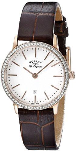 Rotary Women's ls90054/02 Analog Display Swiss Quartz Brown Watch