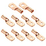 """Ampper Heavy Duty Copper Wire Lugs, UL Eyelets Ring Crimp Copper Terminal Connectors for Battery Cable Ends and More (4/0 Awg, 1/4"""" Ring, 10 Pcs)"""