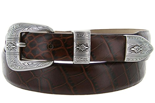 Silver Mesa - Men's Italian Calfskin Designer Dress Golf Belt with Western Silver Plated Buckle Set (38 Alligator Brown)