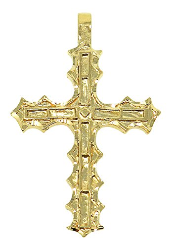 Men's Large 25 Mills 14k Gold Plated Cross Pendant, 50mm x 34mm (2 x 1.3 inches) + Cleaning Cloth