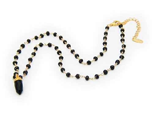 Black Onyx Bullet Necklace in Vermeil, 16.5
