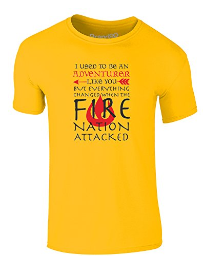 Nation Adult T-shirt - Brand88 Adventuring Until The Fire Nation Attacked, Adults T-Shirt - Daisy/Black L