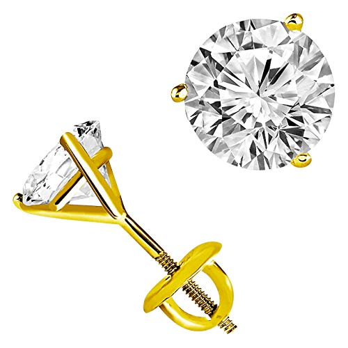 2ct Solitaire Diamond Stud Earrings 14k Yellow Gold Screw Back (H Color SI1-SI2 - 2 H 1 And Carat Si2 Diamond Studs
