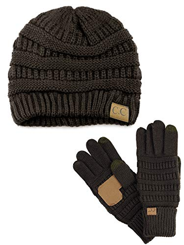 C.C Unisex Soft Stretch Cable Knit Beanie and Anti-Slip Touchscreen Gloves 2 Pc Set, Brown