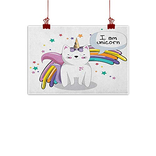 (J Chief Sky Wall Painting Prints Unicorn Cat,Fairy Animal with Ice Cream Cone Bow Stars and Rainbow Kids Imagination Fiction, Multicolor 28