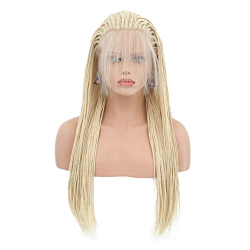 Hair Cap+26'' Braided Lace Wigs Ombre Blonde Hair for Women Synthetic Heat Resistant Long Braids Wig Glueless Half Hand Tied(Blonde) (BZ-012 Blonde dreadlocks)