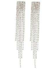Silvertone 4.5 Inch Chandelier with Tassels and Stones Clip on Earrings
