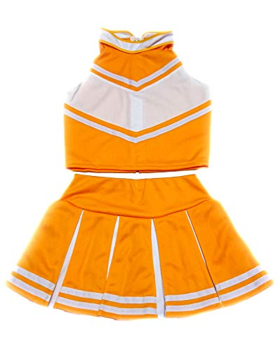 Women Cheerleader Cheerleading Outfit Uniform Costume Cosplay Yellow Gold/White (XS/ -