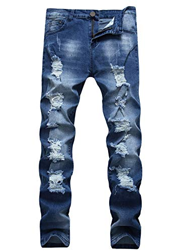 FREDD MARSHALL Men's Blue Ripped Destroyed Distressed Slim Fit Stretch Fashion Denim Jeans Trousers