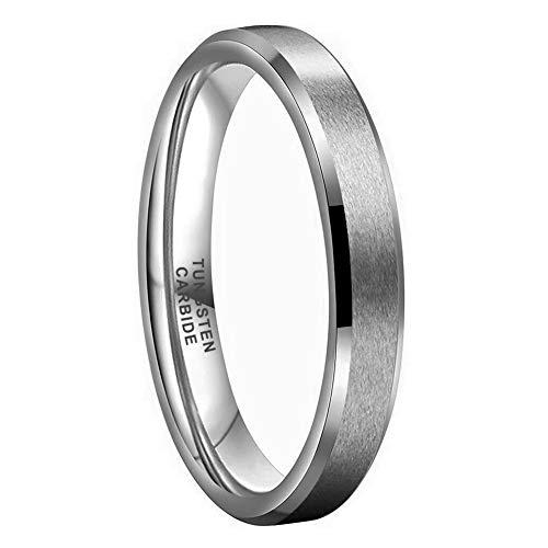 iTungsten 4mm 6mm 8mm Tungsten Carbide Rings for Men Women Wedding Bands Matte Finish Beveled Edges Comfort Fit