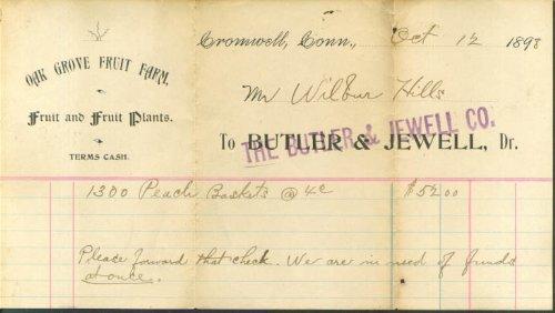 (Butler & Jewell Oak Grove Fruit Farm Cromwell CT 1898)