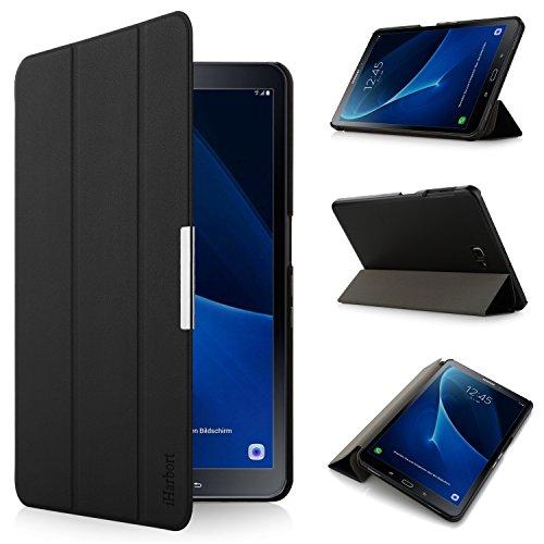 Samsung Galaxy Tab A 10.1 Hülle - iHarbort® Premium Samsung Galaxy Tab A 10.1 Zoll (2016 Version SM-T580N SM-T585N) Leder Tasche Hülle Etui Schutzhülle Case Holder Stand mit Smart Auto Wake / Sleep-Funktion (Gakaxy Tab A 10.1,Schwarz)