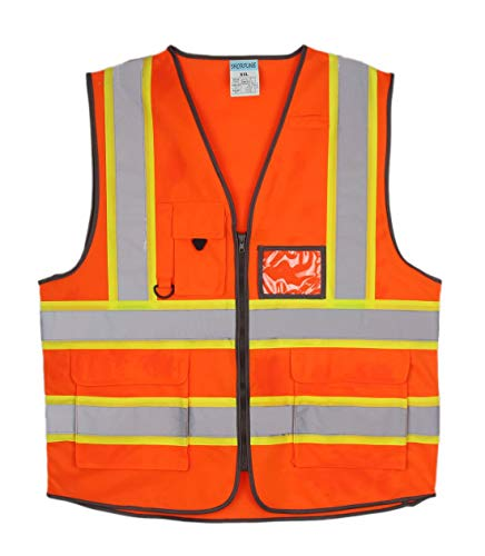 SHORFUNE High Visibility Safety Vest with Pockets, Mic Tab, Reflective Strips and Zipper, Orange, ANSI/ISEA Standards, XL ()