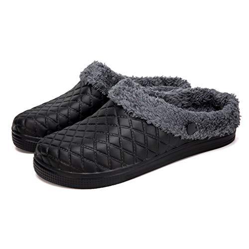 Pantofole 36 Foderate Antiscivolo Pelliccia 44 Nero Donna Casa Pantofola Invernali Zoccoli Giardino Di Da Hishoes Scivoli Caldo Uomo In Invernale FwTRRqd