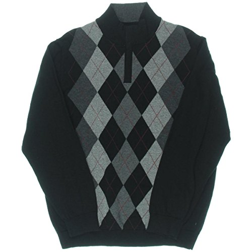 Tasso Elba Mens Argyle 1/4 Zip Mock Turtleneck Sweater Black XL ()
