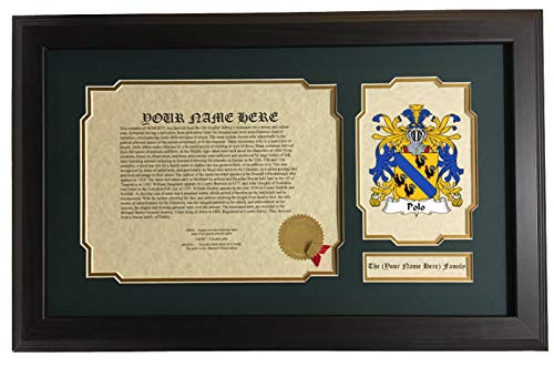 Polo - Coat of Arms and Last Name History, 14x22 Inches Matted and Framed