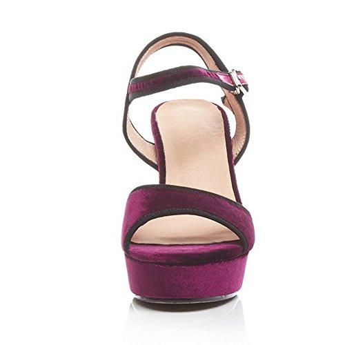 Open Toe Farbe High Sandalen Heels Claret Imitierte Wildleder AgooLar Sortierte Damenschnalle q1nSggP