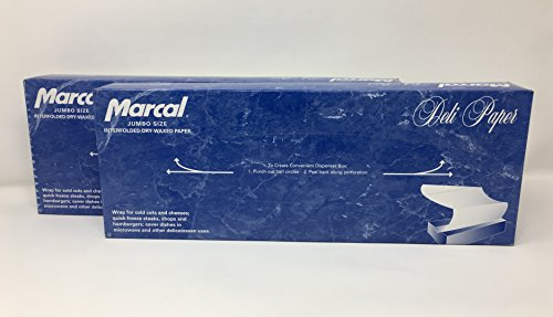 Dry Paper Sheets (Marcal Deli Wrap Interfolded Wax Paper. Dry Waxed Food Liner Jumbo Size 15 Inch by 10.75 Inch. Total of 1000 Sheets (2 x 500 Packs))