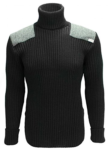 Roll Neck Woolly Pully Sweater with Harris Tweed Patches - Black - Large