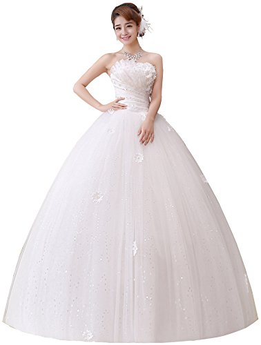(Clover Bridal 2017 Strapless Applique Beaded Pleats Ball Gown Wedding Dress Ivory (12))