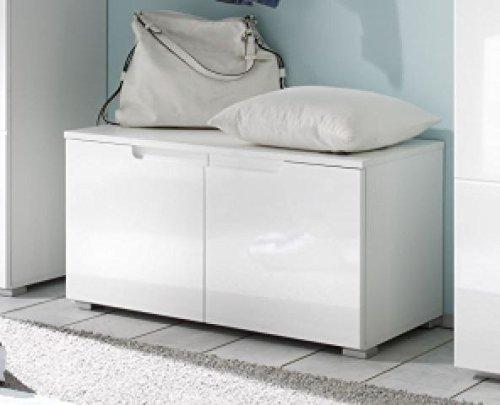 AVANTI TRENDSTORE - Spilla - Scarpiera per guardaroba in laminato di colore bianco e bianco lucido, dimensioni: LAP 80x43x40 cm
