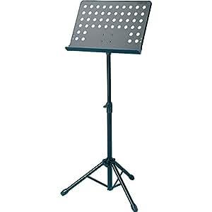 Atril profesional con apoya-partituras en metal perforado orientable y capaz de soportar carga