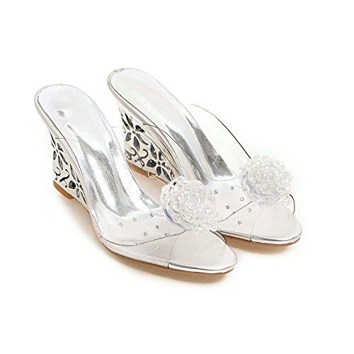 Estilo Nuevo Verano Imitación De De Diamantes Flores De Cuña De De Silver Sandalias XvP8qwzxA