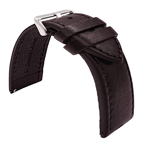(TIME4BEST Quick Release Vintage Italian Leather Watch Band Strap Color Sewn Stitching 20mm 22mm 24mm (22mm, Black))