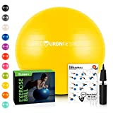 URBNFit Exercise Ball (Multiple Sizes) for Fitness, Stability, Balance & Yoga - Workout Guide & Quick Pump Included - Anti Burst Professional Quality Design (Yellow, 65CM)