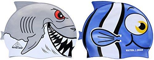 Water Gear Critter Cap blue fish and grey - Swim Fins Gear Water