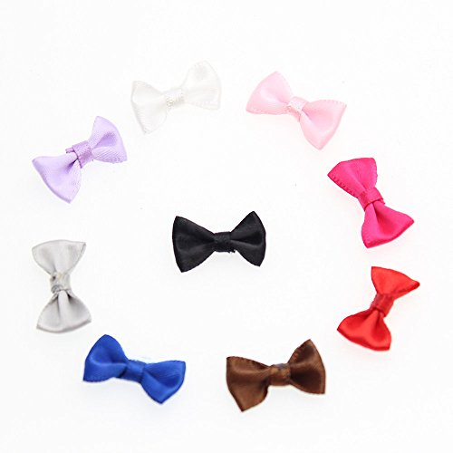 (QianCraftKits Mini Fabric Ribbon Bow Tie Craft,Tiny Satin Bows for Christmas Cards,Baby Showers,Scrapbooks,Embellishmen DIY Projects and Hair Accessory Jewellery Making Wedding(225pc,9colors))