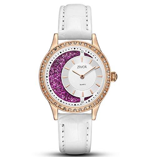 NOMSOCR Women's Fashion Diamond Round Dial Quartz Analog Wrist Watch with Leather Band (White) (Diamond White Leather Watch)