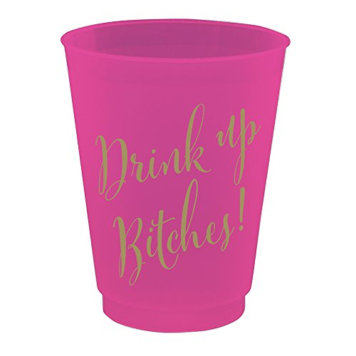 Flex Gold Foil (8 Ct Drink Up Bitches - 16 ounce Frost Flex Cups - Hot Pink and Gold Foil Print)