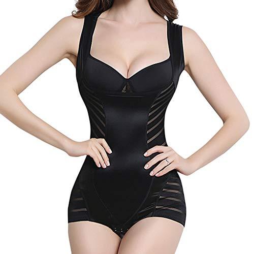 VICCKI Women Warm Vest Underwear Body Beauty Horse Stripe Underwear Body-Shaping Corset Black