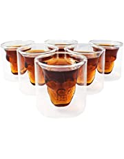 Kemes szklanki w kształcie trupiej czaszki, zestaw 6 sztuk, szklanka w kształcie trupiej czaszki, kieliszki do wódki, do wódki lub whisky (75 ml)