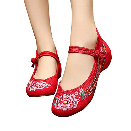 CINAK Embroidered Shoes Chinese Women's Embroidery Flowers Style Loafers Comfortable Ballet Flats Red-104