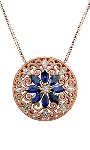 Jewel Zone US Mothers Day Jewelry Gifts 925 Sterling Silver Simulated Blue Sapphire & Natural Diamond Filigree Medallion Pendant Necklace