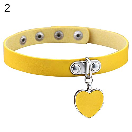 Faux Leather Pendant - BYyushop Punk Gothic Women Love Heart Pendant Faux Leather Choker Collar Necklace Bracelet - Yellow