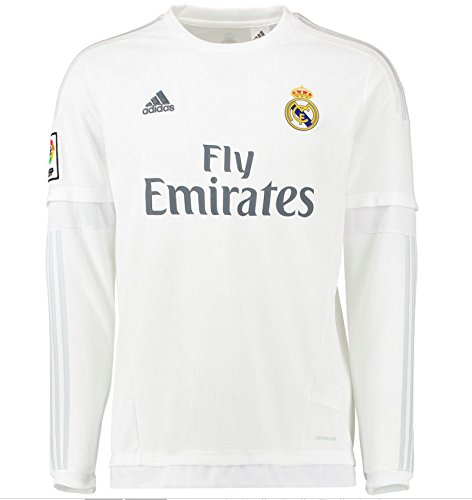 bf9c5120883 Galleon - 2015-2016 Real Madrid Adidas Home Long Sleeve Shirt (Kids)