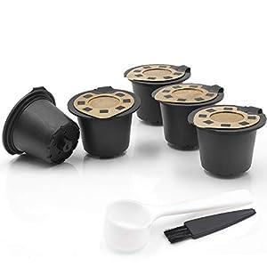 Capsule di caffè Ricaricabili 6 Pezzi Capsule riutilizzabili Cialde Cucchiaino da caffè con Pennello Compatibile con la…