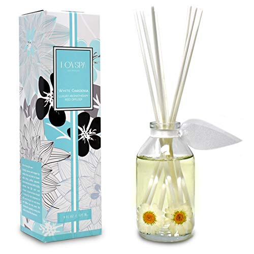 LOVSPA White Gardenia Scented Reed Diffuser Oil and Sticks Gift Set | Floral Aroma of Gardenia with Jasmine Flowers, Red Roses, Wild Violets and Tuberose | Gift Idea for Mom, Wife or Grandma ()