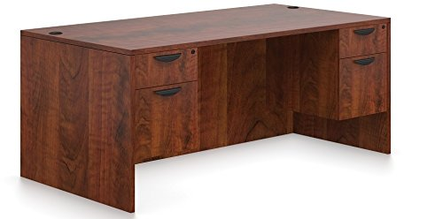 Offices To Go Office Desk W/Hanging Files Dimensions:71''W X 36''D X 29 1/2''H Two Hanging Box/File Pedestals W/Locks Grommets Standard - American Espresso