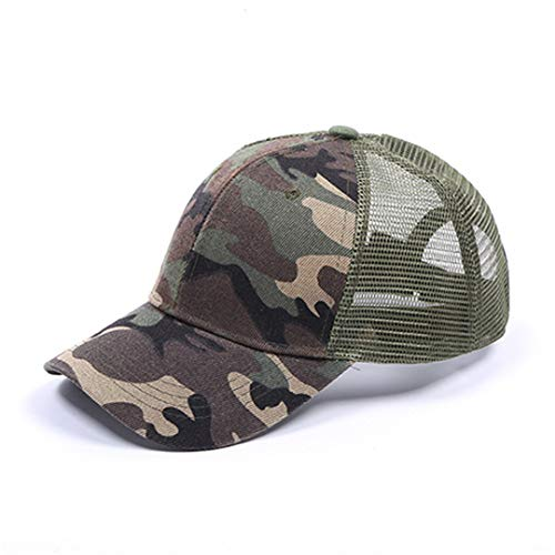 (DSFEWRD Glitter Ponytail Baseball Cap Women Hat Summer Messy Bun Mesh Hats Casual Adjustable Sport Caps Camouflage Without t)