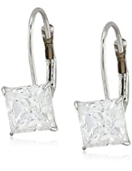 10k Gold Princess-Cut Dangle Earrings Made with Swarovski Zirconia (2 cttw Diamond Equivalent)