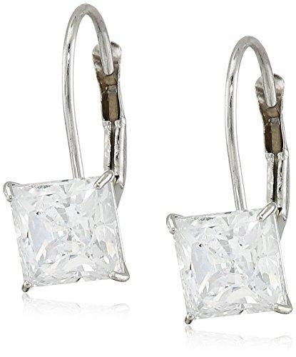 Classic White Lever (10K White Gold Swarovski Zirconia Princess Cut Lever back Earrings (2 cttw))