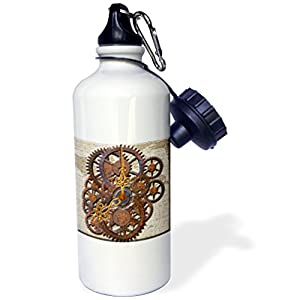 "3dRose ""Steam Punk cog wheels in Bronze"" Sports Water Bottle, 21 oz, White"