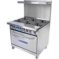 Bakers Pride 36-BP-6B-S30 NG 36-in Range w/ 6-Burners & Standard Oven, Back Guard, NG, Each