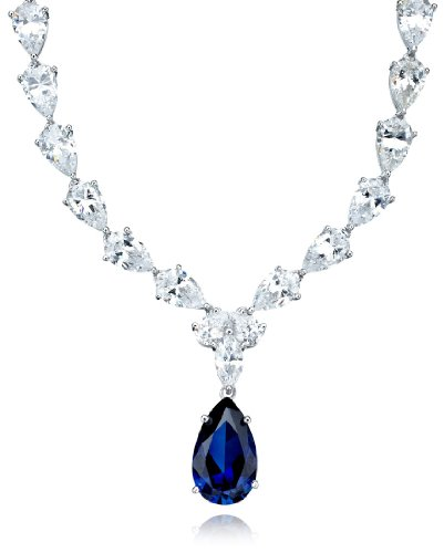 CRISLU Necklace, Platinum Over Sterling Silver Blue and Clear Cubic Zirconia Drop Necklace (50-1/2 ct. t.w.) ()